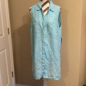 Chico's blue linen tunic sleeveless top 2 or 12/14